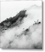 Clouds Surrounding Mountains Metal Print by Ruben Sanchez Photography