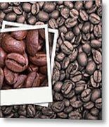 Coffee Beans Polaroid Metal Print by Jane Rix