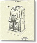 Coin Operated Casino Machine 1938 Patent Art Metal Print by Prior Art Design
