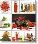 Collage Of Different Colorful Spices For Seasoning Metal Print by Sandra Cunningham