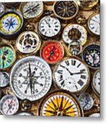 Compases And Pocket Watches  Metal Print by Garry Gay