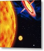 Computer Artwork Of Stages In A Star's Life Metal Print by Victor Habbick Visions