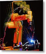 Computer-controlled Electric Arc-welding Robot Metal Print by David Parker, 600 Group Fanuc
