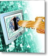 Computer Security Metal Print by Victor Habbick Visions