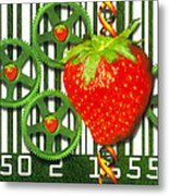 Conceptual Image Of Genetically-engineered Fruit Metal Print by Victor Habbick Visions