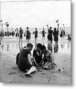 Coney Island Beach Goers - C 1906 Metal Print by International  Images