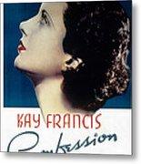 Confession, Kay Francis, 1937 Metal Print by Everett