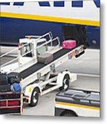 Conveyor Unloading Luggage Metal Print by Jaak Nilson