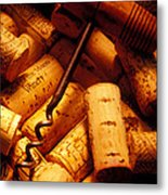Corkscrew And Wine Corks Metal Print by Garry Gay