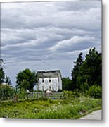 Corn Storm Clouds Horse Dirt Road Old House Metal Print by Wilma  Birdwell