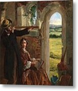 Couple Observing A Landscape Metal Print by English School