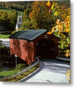 Covered Bridge In Vermont Metal Print by Rafael Macia and Photo Researchers