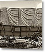 Covered Wagon Sepia Metal Print by Steve Harrington