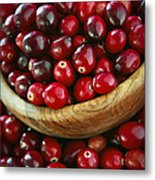 Cranberries In A Bowl Metal Print by Elena Elisseeva
