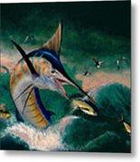 Crashing Blue Metal Print by Wesley  Carter