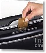 Credit Card Cutting Metal Print by Blink Images
