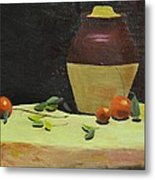 Crock With Fruit Metal Print by Tom Amiss