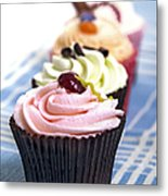 Cupcakes On Tablecloth Metal Print by Jane Rix