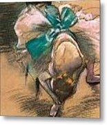 Dancer Tying Her Shoe Ribbons Metal Print by Edgar Degas
