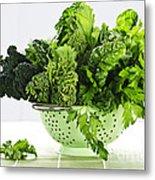Dark Green Leafy Vegetables In Colander Metal Print by Elena Elisseeva