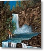 Deer Falls Metal Print by Gloria Jean