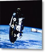 Deployment Of A Satellite In Space Metal Print by Stockbyte