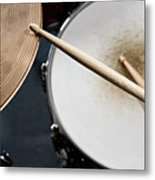 Detail Of Drumsticks And A Drum Kit Metal Print by Antenna