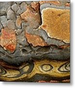 Detail Of Eroded Rocks Swirled Metal Print by Charles Kogod