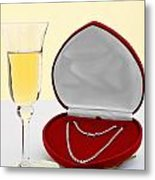 Diamond Necklace With Champagne And White Rose. Metal Print by Richard Thomas