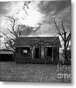 Dilapidated Old Farm House . 7d10341 . Black And White Metal Print by Wingsdomain Art and Photography