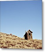 Dilapidated Outhouse On Hillside Metal Print by Eddy Joaquim