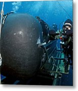 Divers Prepare To Launch A Seal Metal Print by Stocktrek Images