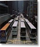 Double Decker Buses In The Streets Metal Print by Justin Guariglia