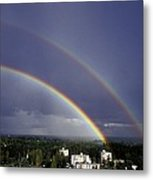 Double Rainbow Over A Town Metal Print by Pekka Parviainen