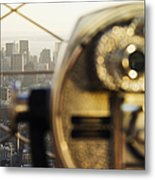 Downtown Manhattan Behind Coin Operated Binoculars Metal Print by Jeremy Woodhouse