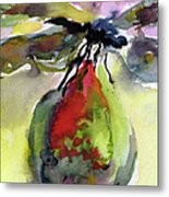 Dragonfly On Flower Bud Watercolor Metal Print by Ginette Callaway