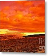 Dramatic Red Sunset At Desert Metal Print by Anna Omelchenko