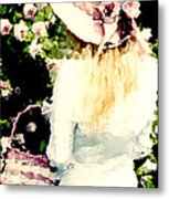 Dreamy Cottage Chic Girl Holding Basket Roses Metal Print by Kathy Fornal