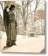Dreamy Surreal Angel Sepia Nature Scene Metal Print by Kathy Fornal