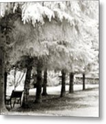 Dreamy Surreal Infrared Park Bench Landscape Metal Print by Kathy Fornal