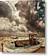 Dreamy Wrecked Wooden Fishing Boats Metal Print by Meirion Matthias