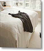 Dress Lying On Bed Metal Print by Shannon Fagan