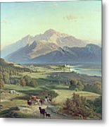 Drover On Horseback With His Cattle In A Mountainous Landscape With Schloss Anif Salzburg And Beyond Metal Print by Josef Mayburger