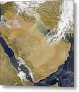 Dust And Smoke Over Iraq And The Middle Metal Print by Stocktrek Images