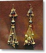 Earrings With Garnets Metal Print by Andonis Katanos