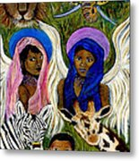 Earthangels Abeni And Adesina From Africa Metal Print by The Art With A Heart By Charlotte Phillips