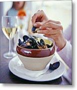 Eating Mussels Metal Print by David Munns