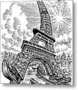 Eiffel Tower, Conceptual Artwork Metal Print by Bill Sanderson