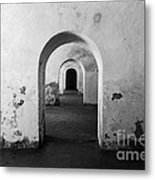 El Morro Fort Barracks Arched Doorways San Juan Puerto Rico Prints Black And White Metal Print by Shawn O'Brien