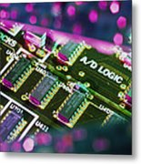 Electronic Circuit Board From A Computer Metal Print by Steve Horrell